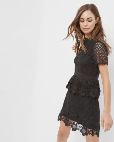 Layered lace dress - Black | Dresses | Ted Baker