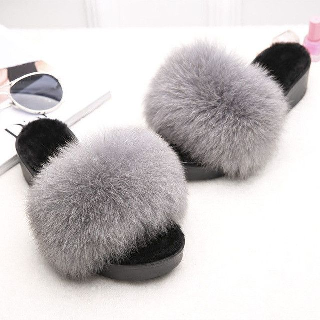 Natural Sheepskin Slippers Fashion Winter Open Toe Women Indoor Slippers Fur Warm High Quality Wool Soft Plush Lady Home AWM185