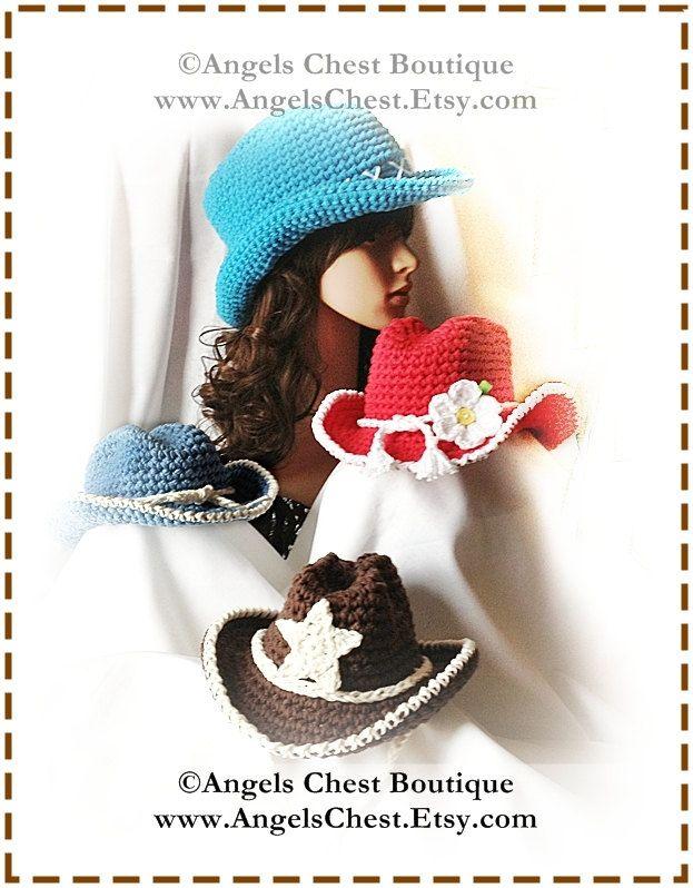 COWBOY Crochet Hat Pattern Size Newborn to Adult Boutique Design - No. 53 by AngelsChest.