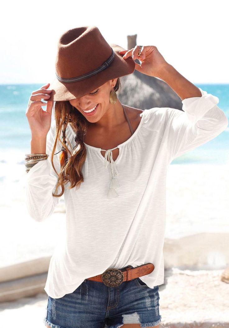 Buffalo London Strandshirt mit Spitzeneinsatz im Online Shop von Ackermann Versand #Sommer #Strandmode #Fashion