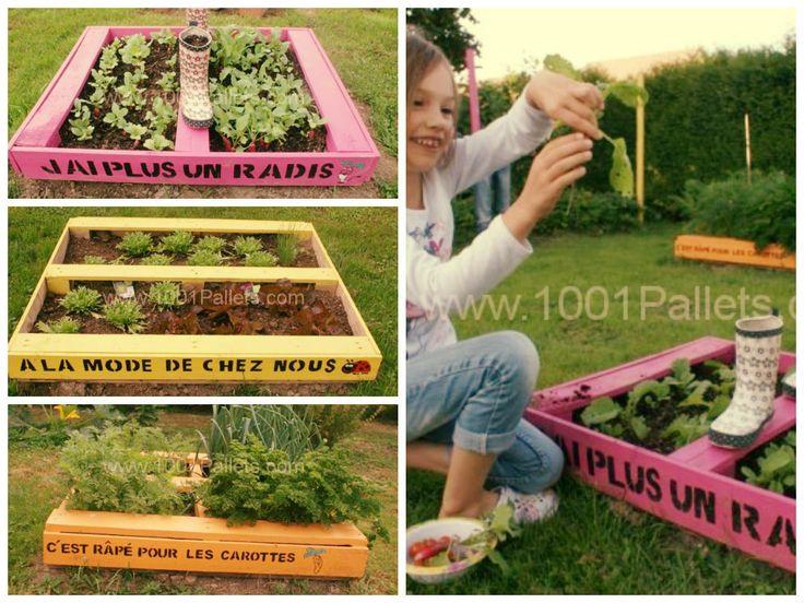 Pallet as a mini-planters / Mini potager en palettes #PaletteJardin, #Pallet, #Planter, #Potager