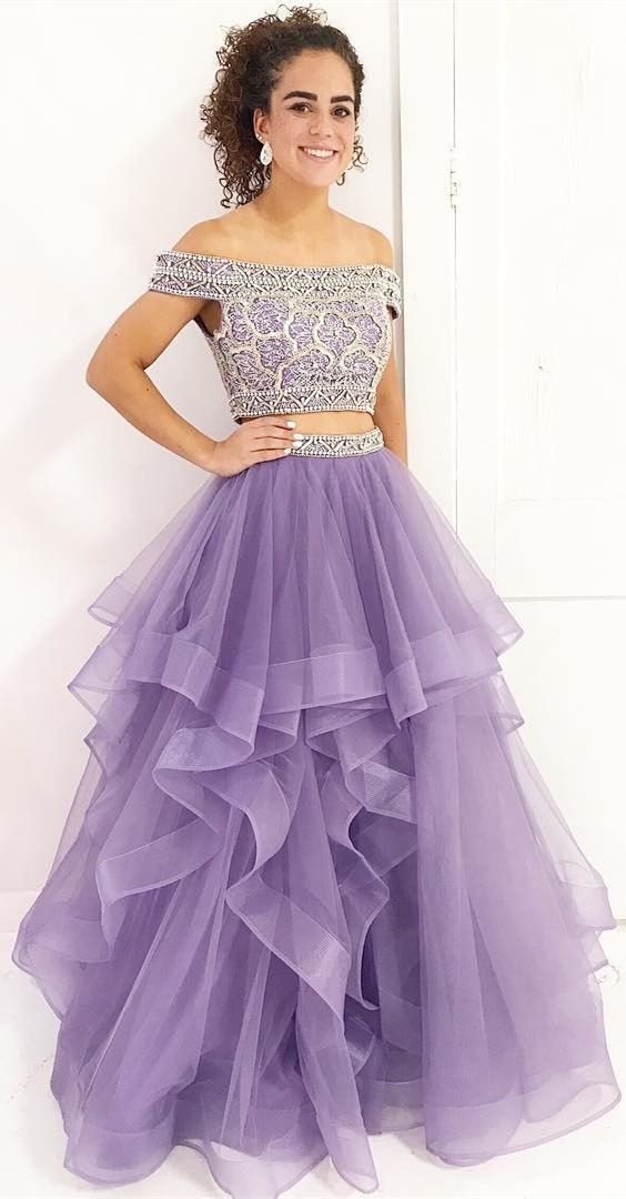 bcedf6f51988 elegant two piece lilac tulle prom dress with beading, chic tiered lilac  tulle 2 piece party dress with beading, fashion off the shoulder lilac prom  dress ...