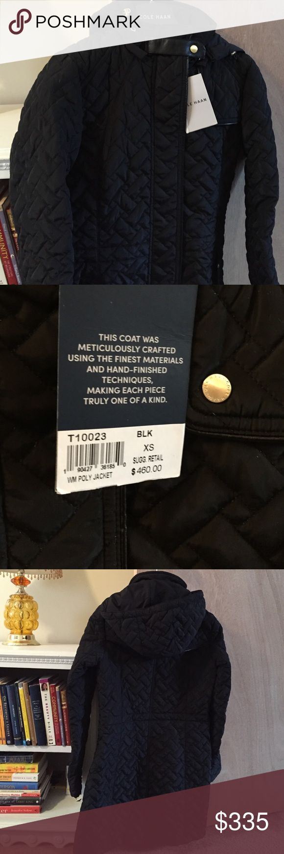 Cole Haan ladies winter coat Black quilted pattern with gold hardware 3/4 length and size XS Cole Haan Jackets & Coats