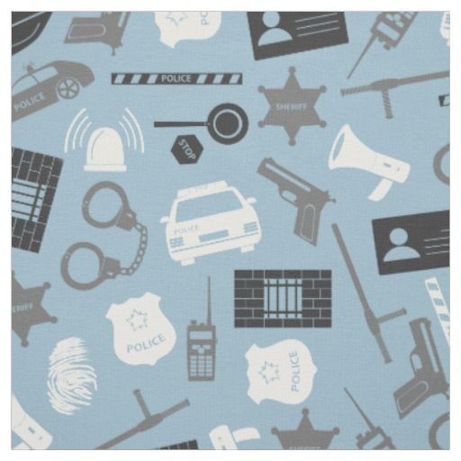 Police Tools and Symbols Blue Fabric Police theme pattern with police car, handcuffs, badge and other related symbols and tools in grey and white over a light blue background.