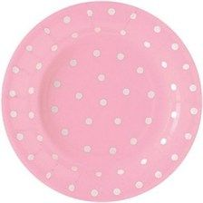 Pink Polka Dot Dessert Plates go great with settocelebrate's owl themed baby shower decorations for girls!