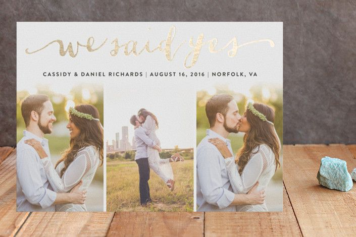 Jotted Foil-Pressed Wedding Announcement by Ashley... | Minted
