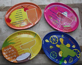 Set of 4 Fun and Colorful Cocktail Recipe Plates