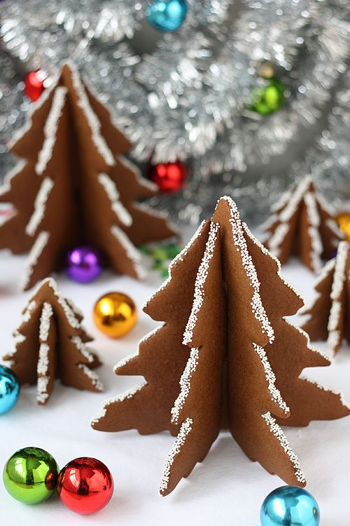 Gingerbread Christmas Trees. They slot together & don't require icing to hold. Tree template included.