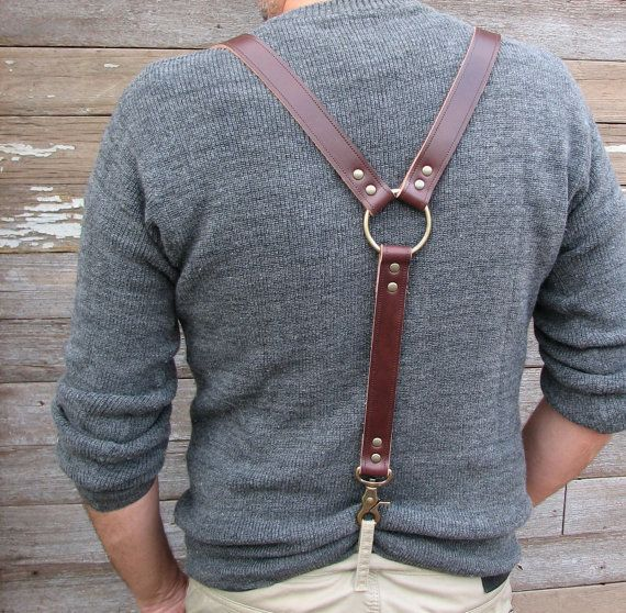 Oxblood Leather Steampunk Suspenders or Braces by VampieOodles, $48.00 oh I want.