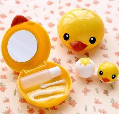 DMtse Vivid Sandwich Crackers Design Contact Lens Case W Bottle Travel Kit (Yellow Duck) | ProHealthCure