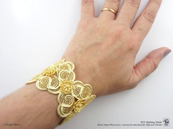 Tradicional popular de doble CORAZÓN de pulsera de FILIGRANA