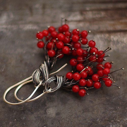 beautiful Christmas earrings . Red Coral cluster . Sterling by ewalompe, $48.00
