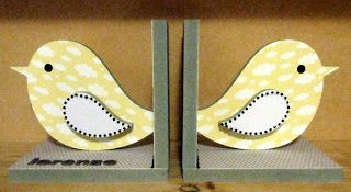 Grey, yellow and white - neutral baby bird bookends