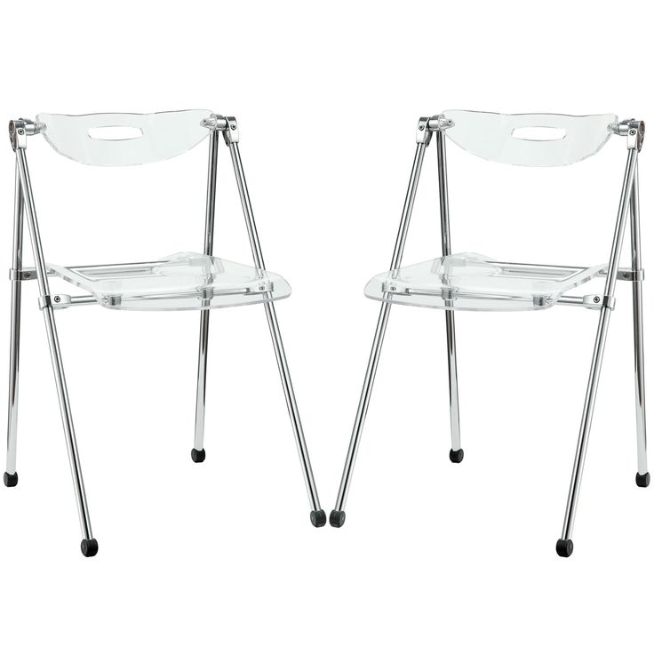 These are stylish and foldable. I think the stackable acrylic chairs work a little better stylistically, but these are a good alternative if you want something foldable. Telescope Set of 2 Dining Chairs EEI-923-CLR by LexMod.