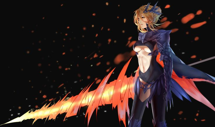1girl absurdres artoria_pendragon_alter_(fate/grand_order) black_legwear blonde_hair breasts cape cowboy_shot fate/grand_order fate_(series) from_side gauntlets hair_bun highres holding holding_weapon horns lance looking_away medium_breasts midriff navel pauldrons polearm qifenling_liumiao rhongomyniad saber saber_alter short_hair sidelocks solo stomach thighhighs underboob weapon yellow_eyes