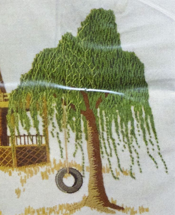 Embroidered Tree W/Tire Swing.