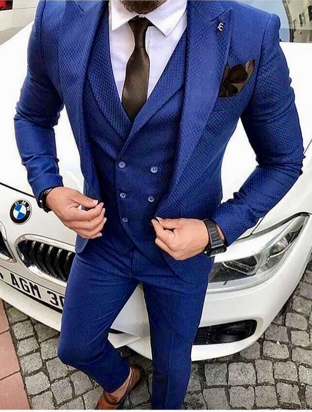Royal Blue Three Piece Men S Suit With White Shirt And Brown