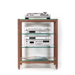 QUADRA Hifi Rack Made Of Walnut Wood. Ideal For Audio And Stereo Equipment.