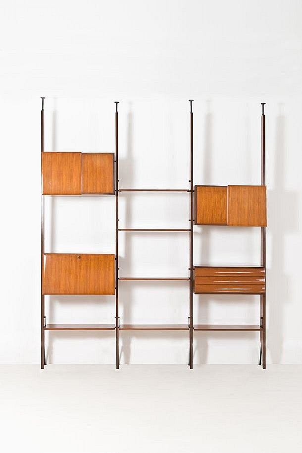 Gio Ponti Attributed; Walnut and Brass Shelving, 1950s.