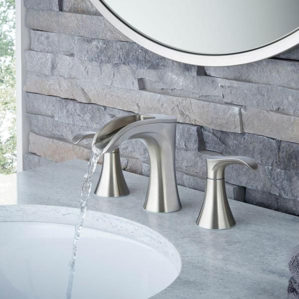 Pfister Brea 8 In Widespread 2 Handle Waterfall Bathroom Faucet In Brushed Nickel Lf 049 Brkk The Home Depot Bathroom Faucets Waterfall Bathroom Faucets Brushed Nickel Bathroom Faucets