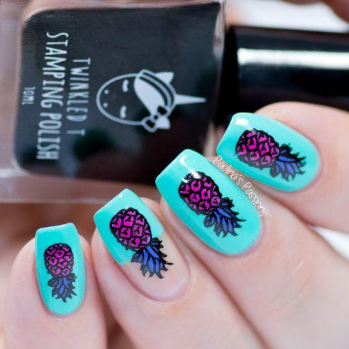 Nail Art Essentials Bright Blue High Fashion Pineapple Nail Art Video #tutorial #beautyblogger #nailart