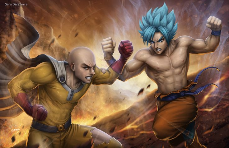 Saitama vs Goku, Sam DelaTorre on ArtStation at https://www.artstation.com/artwork/OE408