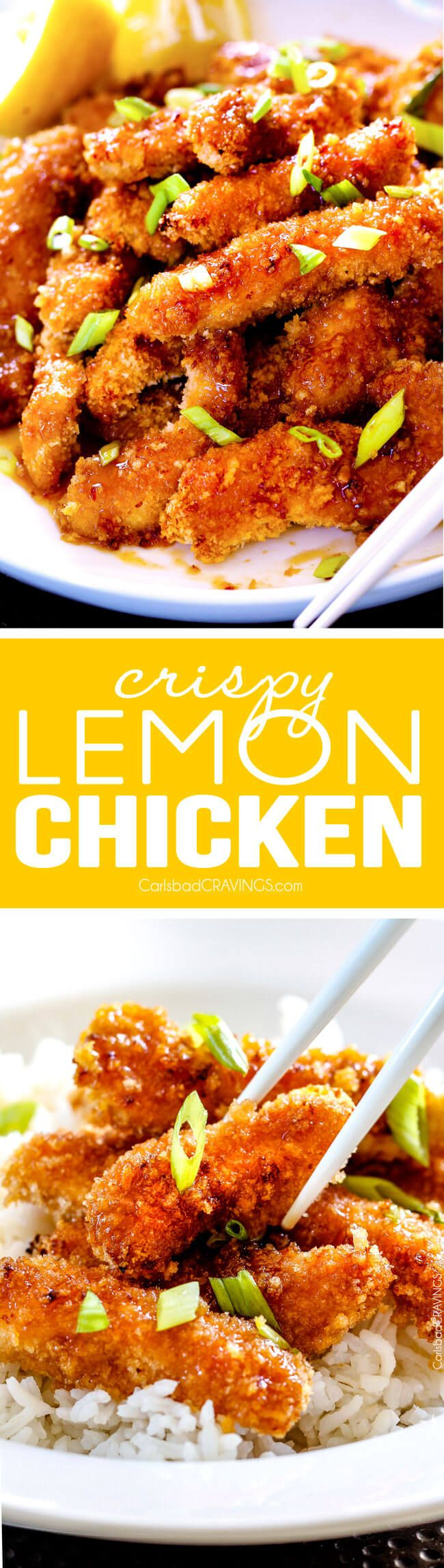 Crispy Sweet and Tangy Chinese Lemon Chicken - My family devours this crunchy sweet and tangy chicken! and I love the one step batter - so much easier than traditional breading!  via @carlsbadcraving