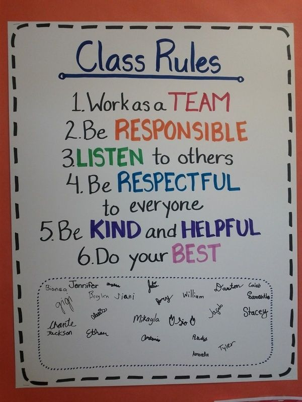 class rules with student signatures -- first day of school. Like this idea......     Also can be used in other aspects of everyday life for example,  Everytime you converse w/ people in general, young or old. For instance place of employment, If EVERYONE