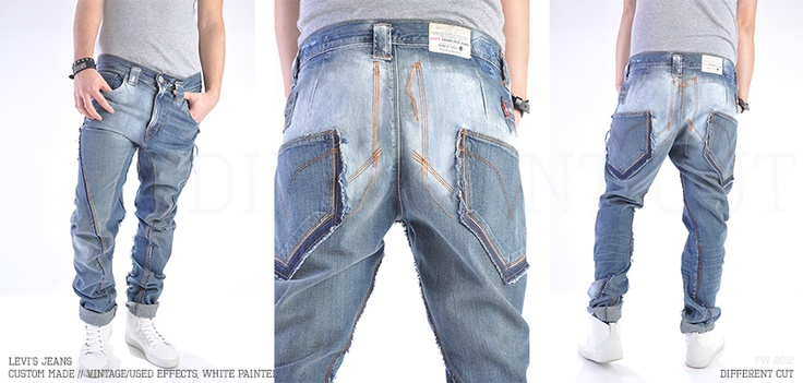 ✂ Levi's Jeans / Custom made (distressed, vintage/used cuts, white painted)