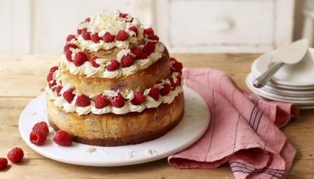 Three-tier white chocolate and raspberry cheesecake