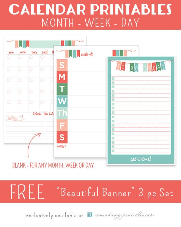 "Printable Calendar Set: ""Beautiful Banner"" - Monthly, Weekly & Daily planning with goals"