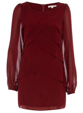 Burgundy Long Sleeve, Layered Dress