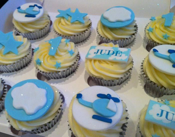 Cute helicopter cupcakes for little boys birthday parties by Victoria Defty Couture Cakes!