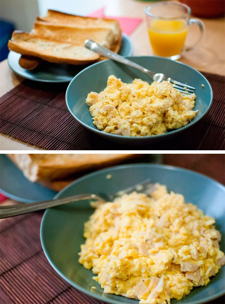 Perfect scrambled eggs for breakfast!!