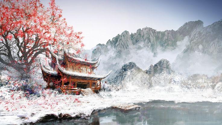#Sakura #snow #mountains #lake #nature #art #Japan #Япония #арт #снег #Сакура