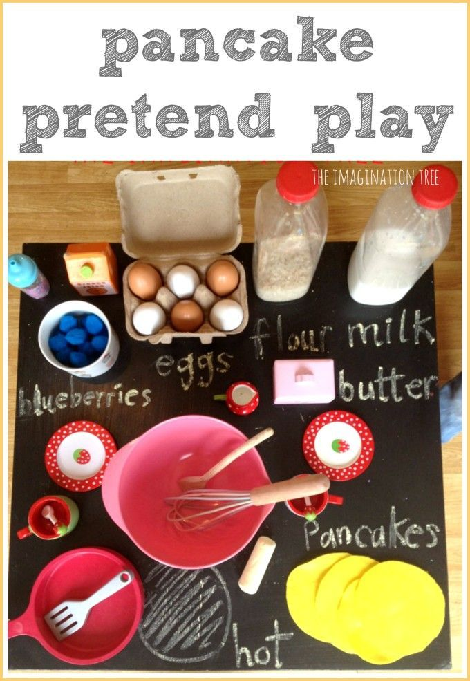 Pancake making pretend play activity - A great activity to go with Eric Carle's, Pancake, Pancake! or Laura Numeroff's, If You Give a Pig a Pancake.