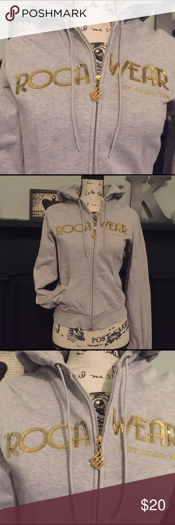 ✨SEXY ROCAWEAR HOODIE ✨ 💫LIKE NEW💫. You can dress this up  or down!! Sequined Rocawear logo with gold zip up accents!! Excellent condition!!! Rocawear Tops Sweatshirts & Hoodies