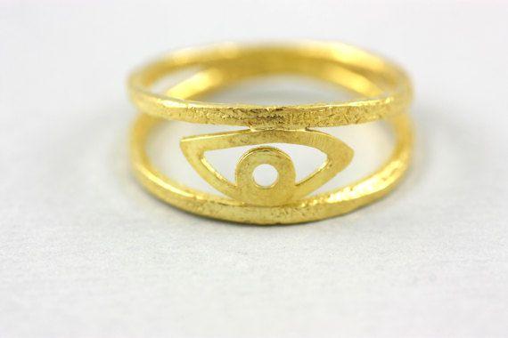 Evil Eye Ring, Gold Filled Ring, Eye Ring, Good Luck Ring, Ring for Women, Silver Evil Eye, Silver Double Ring, Gold Stacking Ring, SR0199