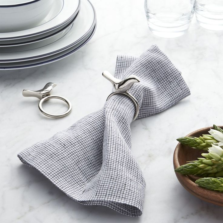 Silver Bird Napkin Ring Crate and