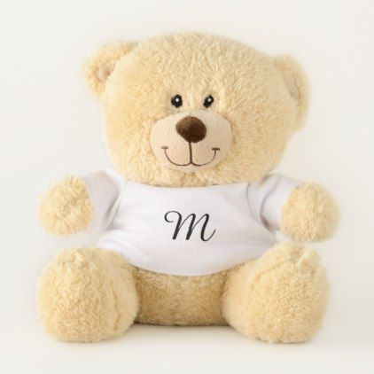 Custom Customize Design Monogram Template White Teddy Bear - monogram gifts unique custom diy personalize