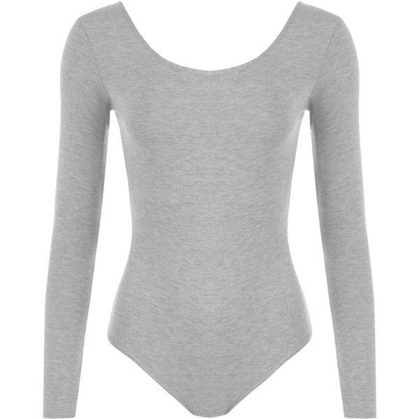 Iris Long Sleeve Bodysuit (£13) ❤ liked on Polyvore featuring intimates, shapewear, bodysuit, body suit and light grey