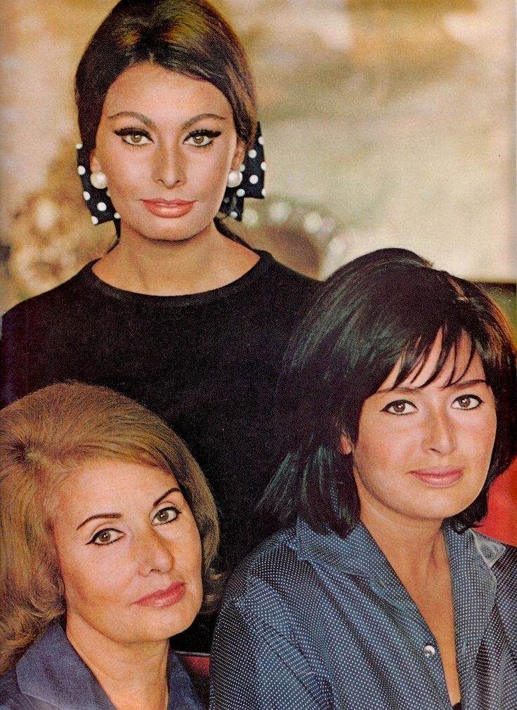 SOPHIA LOREN and her mother (left) and sister Maria. Photo by Robert Freson. Vintage Ladies Home Journal April 1966 (minkshmink)