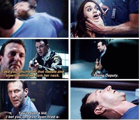 "Teen Wolf Season 04 Episode 09 ""Perishable"" Deputy Parrish to the rescue. Lydia Martin and Brunski"