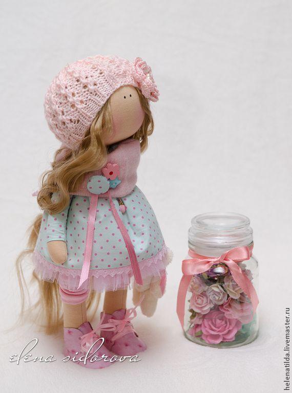 Купить Monika - бледно-розовый, розовый, голубой, кукла, интерьерная кукла, тильда, Декор