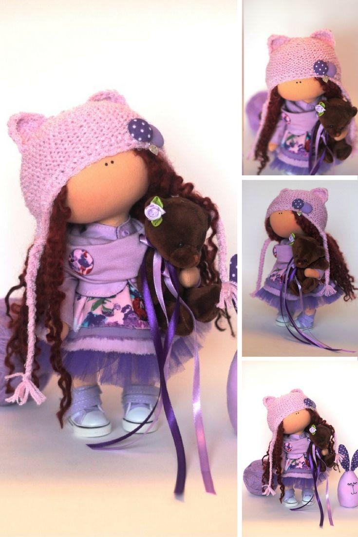 Tilda doll Fabric doll Summer doll handmade violet color Soft doll Cloth doll…