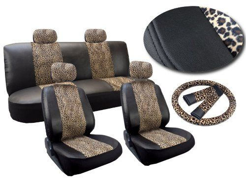 Cheetah Print Deluxe Leatherette 13pc Full Car Seat Cover Set Premium Synthetic Leather Double Stitched