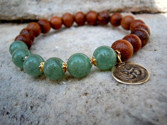 Emotional Healing / Yoga Bracelet / Wrist Mala / Aventurine / Mala Bracelet / Ohm Bracelet / Mala Beads / Yoga Jewelry on Etsy, $26.00