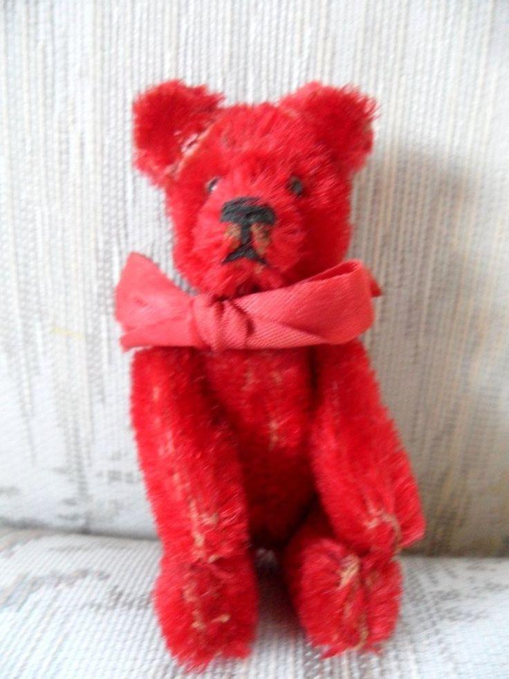 MINIATURE SCHUCO PERFUME BEAR rare RED TEDDY small vintage
