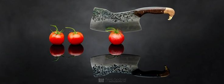 Title: Nervous Date: 13th Sep, 2016 Ref:2016091339764  Photo by Flavio Bodrogi Photography FACEBOOK: www.facebook.com/flaviobodrogiphotography INSTAGRAM: www.instagram.com/flavio_bodrogi_photography  ITEMS • Meat cleaver made by Fyodor Krasniy under the watchful eye of Chris Alexander from Sinclair Knives. • Organic tomatoes from Coles • Black paper backdrop • Black Acrylic sheet #conceptualphotography #knife