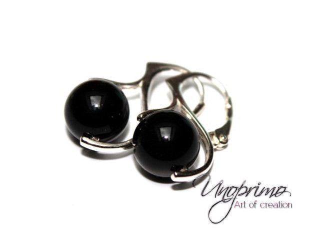 Boucles d'oreilles en argent, Boucles d'oreilles PEARL mystic black Ag925 noir est une création orginale de unoprimo-pl sur DaWanda